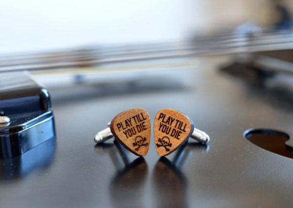 Wood Cufflinks Guitar Pick - Play till you die
