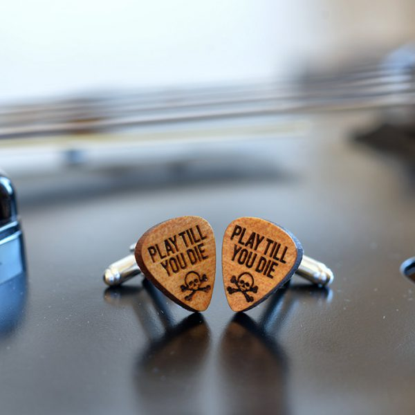 Wood Cufflinks Guitar Pick - Play till you die