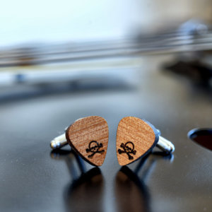 Wood Cufflinks Guitar Pick - Skull