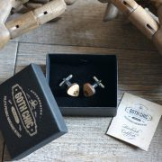Wood Cufflinks Guitar Pick - Skull
