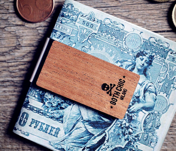 Handcrafted wood money clip - Goth Chic MIlano