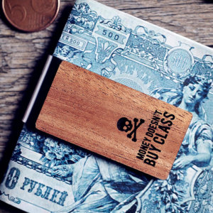 Handcrafted wood money clip - Money doesn't buy class quote.