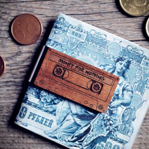 Handcrafted wood money clip - Musicassette MONEY FOR NOTHING