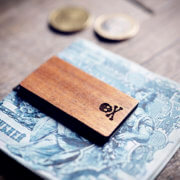 Handcrafted wood money clip - Skull and bones