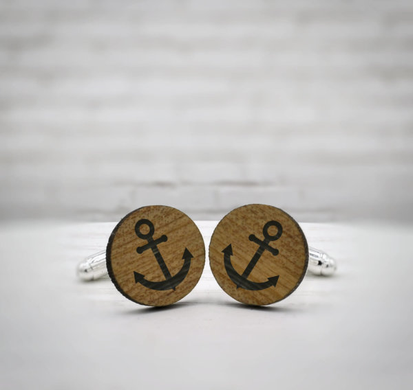 ELEGANT WOOD cufflinks - anchor stylish accessory