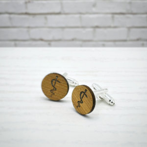ELEGANT WOOD cufflinks - Rod of Asclepius stylish accessory