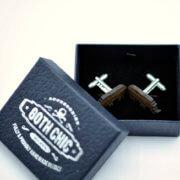 RHINO Cufflinks - Organic rosewood laser cut cuff links