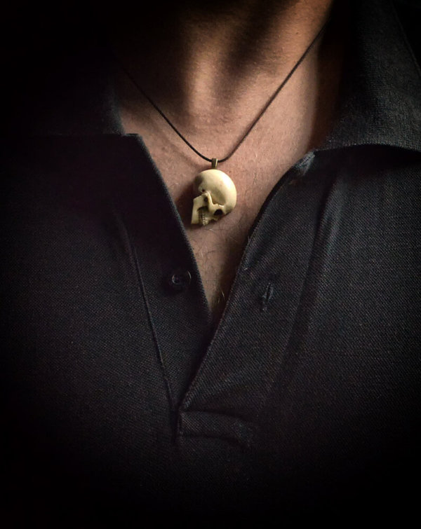 Unisex Skull necklace - Synthetic ivory skull on brown Waxed Polyester Cord
