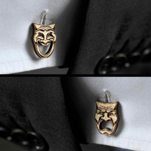 WOOD cufflinks - THEATRE DRAMA masks elegant cuff links