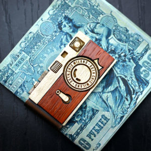 Camera money clip,  Vintage wood Leica money clip, Hand made money clip, hand made gift