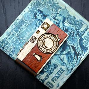 Camera money clip,  Vintage wood Leica money clip, Hand made money clip, hand made gift