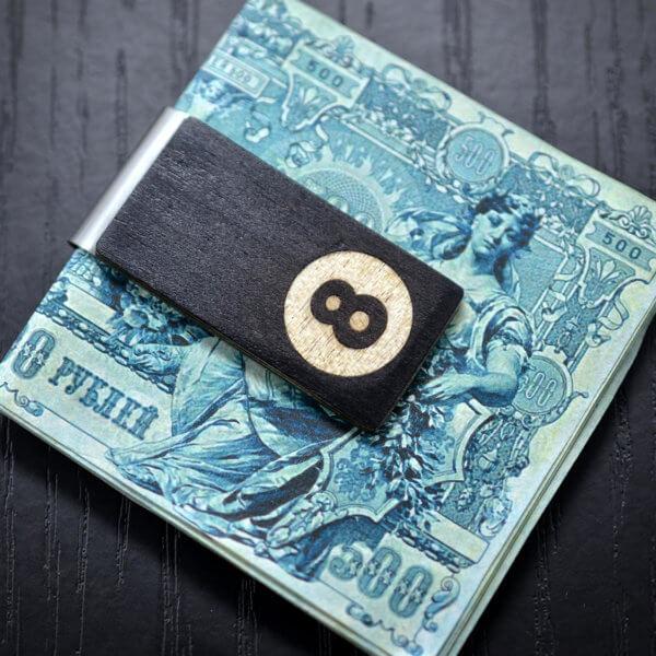8 ball wood money clip, hand made Money Clip, Groomsmen gifts, Money Clip, Wood Money Clip, Groomsman Gift, Groomsmen gifts