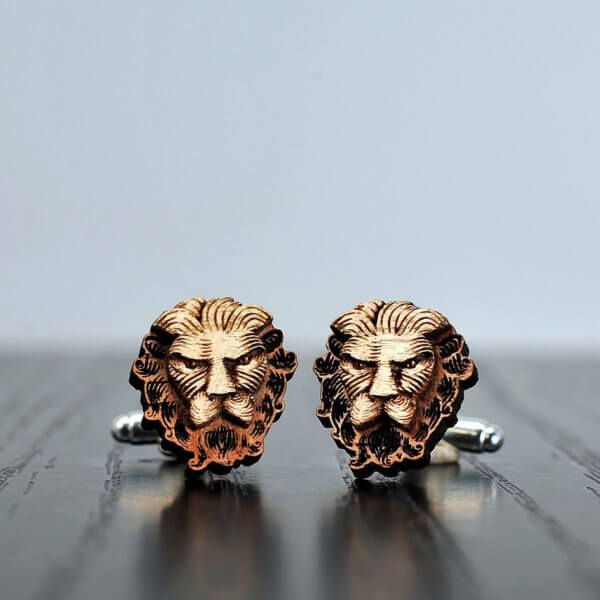 Lion Cufflinks, Engraved Wood Cufflinks, Wooden Cufflinks, Animal Cufflinks, Mens Cufflinks, Unique Cuff Links, Wooden Cuff Links