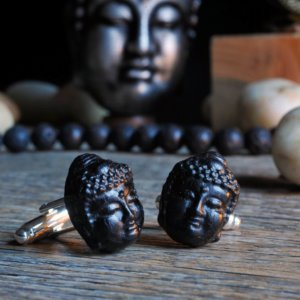 Buddha ebony cuff links