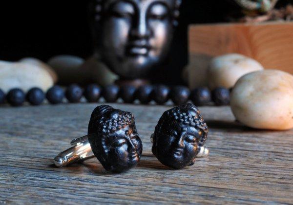 Buddha ebony cuff links