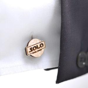 Star Wars cufflinks - HAN SOLO logo - Maple wood wedding cuff links