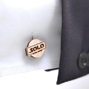 Star Wars cufflinks - HAN SOLO logo - Maple wood wedding cuff links
