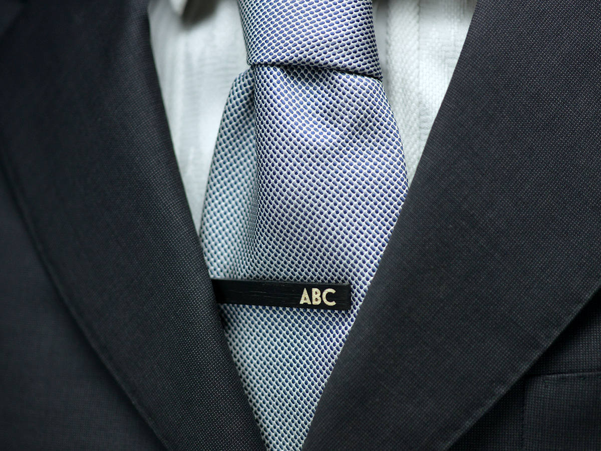 CUSTOM WEDDING Tie Clip - handmade personalized ebony wood tie bar -  elegant gift for men