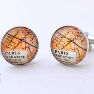 Paris France Antique Map Cufflinks - Perfect gift for a romatic man.