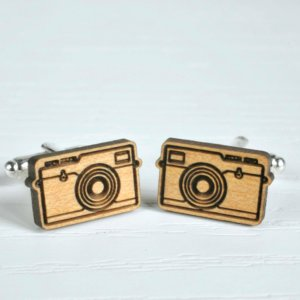 Vintage Camera Cufflinks - Camera Gift - Photography Gift - wood cuff links